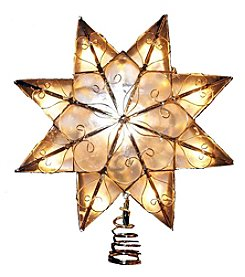 Kurt Adler 10-Light 8-Point Indoor Capiz Star Treetop with Arabesque Decoration