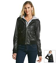 MICHAEL Michael Kors® Knit Layered Leather Bomber Jacket