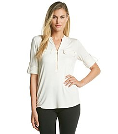 Calvin Klein Zip Front Roll Sleeve Top
