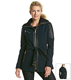 BCBG™ Short Belted Jacket With Knit Collar