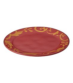 Rachael Ray® Gold Scroll Cranberry Red Round Platter