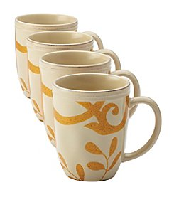 Rachael Ray® Gold Scroll Almond Cream Set of 4 Mugs