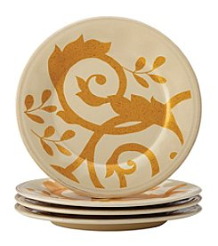 Rachael Ray® Gold Scroll Almond Cream Set of 4 Appetizer Plates