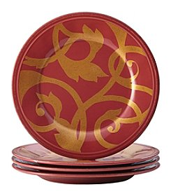 Rachael Ray® Gold Scroll Cranberry Red Set of 4 Appetizer Plates
