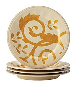 Rachael Ray® Gold Scroll Almond Cream Set of 4 Salad Plates