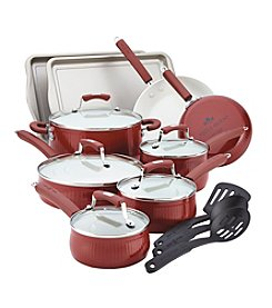 Paula Deen® Savannah Collection Aluminum Nonstick 17-pc. Red Cookware Set