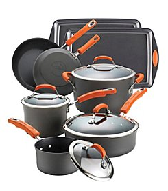 Rachael Ray® 12-pc. Gray with Orange Handles Hard Anodized II Nonstick Cookware Set