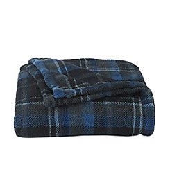 John Bartlett Pet Blue Check Micro Cozy Throw