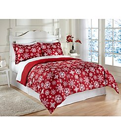 LivingQuarters Snowflake Reversible Microfiber Down-Alternative Comforter