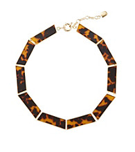 "Lauren Ralph Lauren Tortoise/Goldtone 16"" Tortoise Collar Necklace"