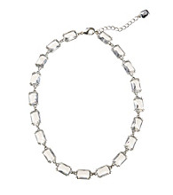 "Lauren Ralph Lauren Silvertone/Crystal 16"" Faceted Crystal Stone Necklace"