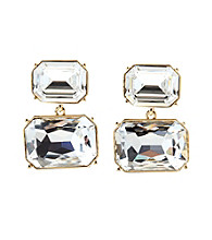 Lauren Ralph Lauren Signature Collection Crystal/Goldtone Large Stone Double Drop Earrings