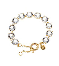 Lauren Ralph Lauren Signature Collection Crystal/Goldtone Faceted Round Flexible Bracelet