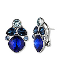 Givenchy® Silvertone/Multi Blue Cluster Earrings