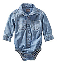 OshKosh B'Gosh® Baby Boys' Long Sleeve Chambray Woven Bodysuit
