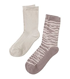 Relativity® 2-Pack Khaki Crew Socks