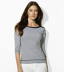 Lauren Ralph Lauren® Petites' Striped Bateau Pocket Top