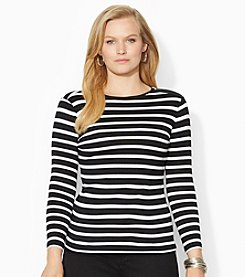 Lauren Ralph Lauren® Plus Size Buttoned-Shoulder Striped Top