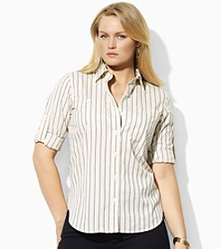 Lauren Ralph Lauren® Plus Size Striped Roll-Tab Shirt