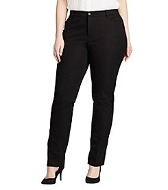 Lauren Ralph Lauren® Plus Size Stretch-Twill Slimming Straight Pants
