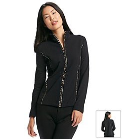 Jones New York Sport® Petites' Mockneck Jacket With Piping
