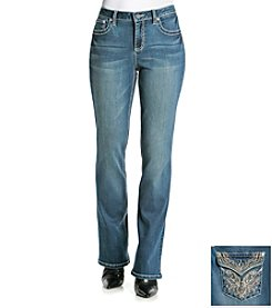 Earl Jean® Wave Stitch Back Flap Boot Cut Jeans