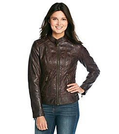GUESS Faux Leather Zipfront Scuba Jacket