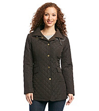 Jones New York® Petites' Snap Front Quilt With Faux Leather Detail Coat