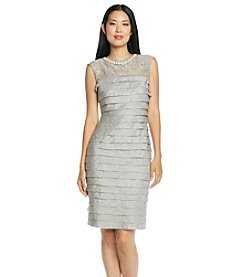 London Times® Sleeveless Lace Bodice Shutter Dress