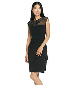 R&M Richards® Sleeveless Illusion Neck Dress With Beads