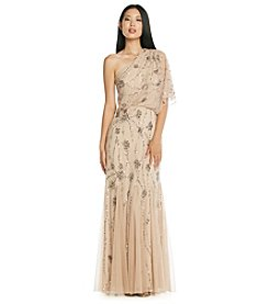 Adrianna Papell® One Shoulder Drape Sleeve Floral Beaded Long Dress