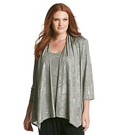 R&M Richards® Plus Size Elbow Sleeve Metallic Twinset