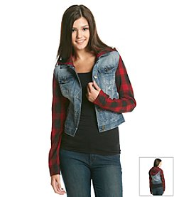 Wallflower® Denim Jacket With Plaid Sleeves And Hood