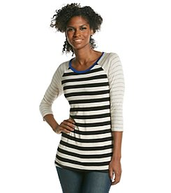 Pink Rose® Mixed Stripe Raglan Knit Tunic