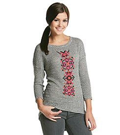 Eyeshadow® Embroidered Front Pullover