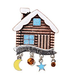 Holiday Bronze Log Cabin Pin