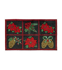 Nourison Poinsettia And Pinecone Grid Rug