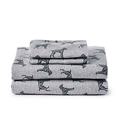 Ruff Hewn Black Dog Printed Flannel Sheet Set