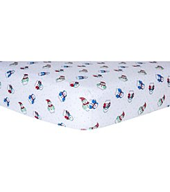 Trend Lab Snowman Flannel Crib Sheet