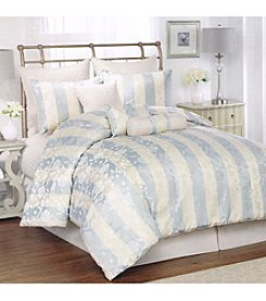 Lifestyles Sage and Ivory Floral Stripe 10-pc. Comforter Set *