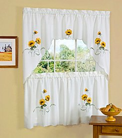 Achim Sunshine Embellished Tier and Swag Valance Set