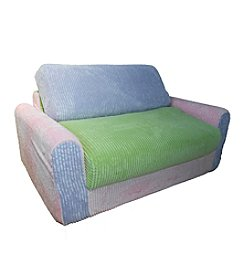 Fun Furnishings Pink Lilac Green Chenille Sofa Sleeper with Pillows