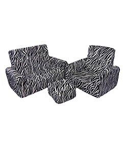 Fun Furnishings Zebra Sofa Chair and Ottoman Set