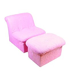 Fun Furnishings Teen Cloud Pink Chenille Chair and Ottoman