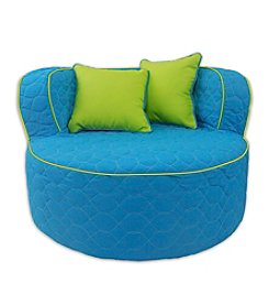 Fun Furnishings Aqua with Lime Piping Throw Back Chair