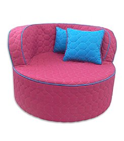 Fun Furnishings Hot Pink with Aqua Piping Throw Back Chair