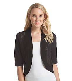 Notations® Solid Pointelle Shrug