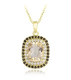 Designs by FMC 18k Gold Over Sterling Silver Citrine, Smokey Quartz and White Topaz Pendant Necklace, 18