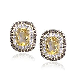 Designs by FMC 18k Gold Over Sterling Silver Citrine, Smokey Quartz and White Topaz Post Earrings