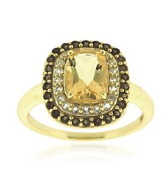 Designs by FMC 18k Gold Over Sterling Silver Citrine, Smokey Quartz and White Topaz Ring